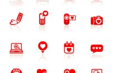 Red Valentine's Day Vector Icons