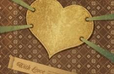 Retro Heart-Shaped Card Vector