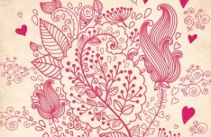 Retro Valentine's Day Florals Vector 03