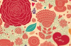 Retro Valentine's Day Florals Vector