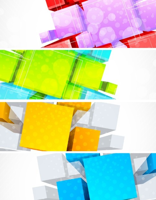 Set Of Colorful Vector Banner with Stereoscopic Background