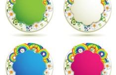 Set Of colorful Flower Border Vector 02