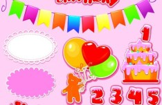 Set of Cartoon Birthday Elements Vetcor