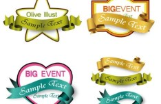 Set of Elegant Vector Ribbons and Labels