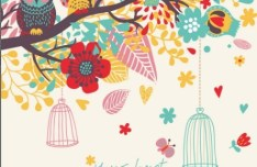 Vector Cartoon Florals and Birds 04