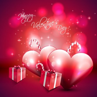 Vector Valentine's Day Background with Hearts and Gife Boxes