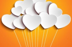 White Heart-shaped Balloons Vector