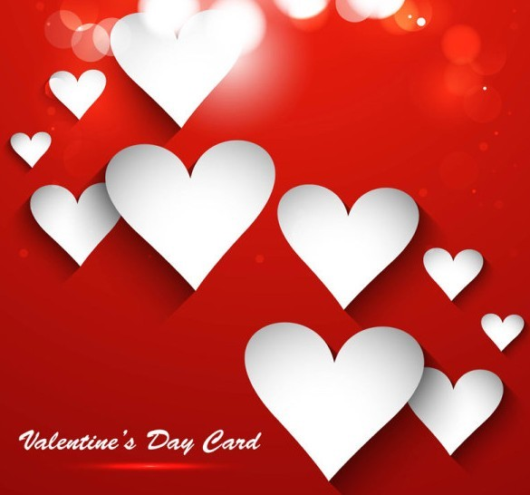 White Valentine's Day Heart Card