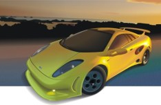 Yellow Racing Car Vector