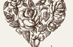 Vintage Floral Heart Vector 01