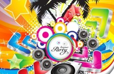 Fashion Music Elements Background Vector 01