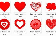 Red Heart Icons for Valentine's Day