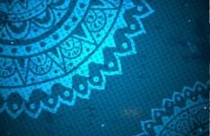 Elegant Blue Floral Patterns Background Vector 02
