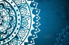 Elegant Blue Floral Patterns Background Vector 03