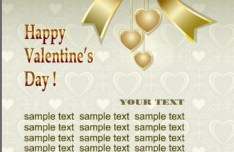 Fantastic Golden Valentine's Day Card with Hearts and Ribbons 02