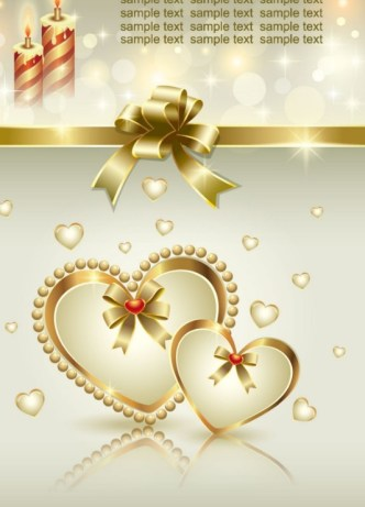 Fantastic Golden Valentine's Day Card with Hearts and Ribbons 03