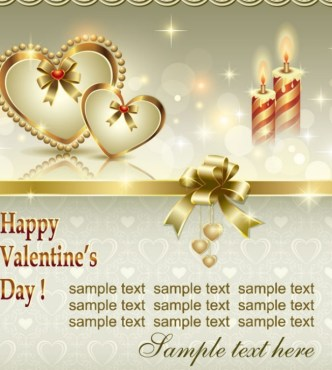 Fantastic Golden Valentine's Day Card with Hearts and Ribbons 04