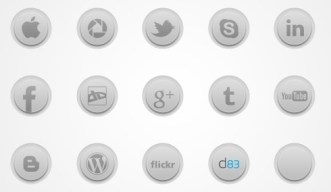 Grey and Round Social Media Icons