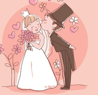 Lovely Cartoon Bride and Groom Vector Illustration 01