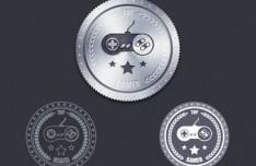 Metal Texture Badges PSD
