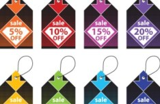 Set of Colored Promotion Tags Vector
