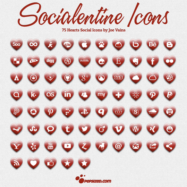75 Heart Social Icons For Valentine's Day