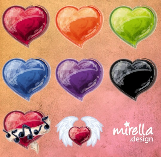 Colorful Valentine Heart Icons