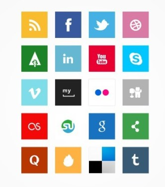 Simple Square Socia Media Icon Set