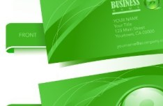 Green Business Card Template Vector