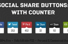 Set of Social Media Share Buttons with Counters