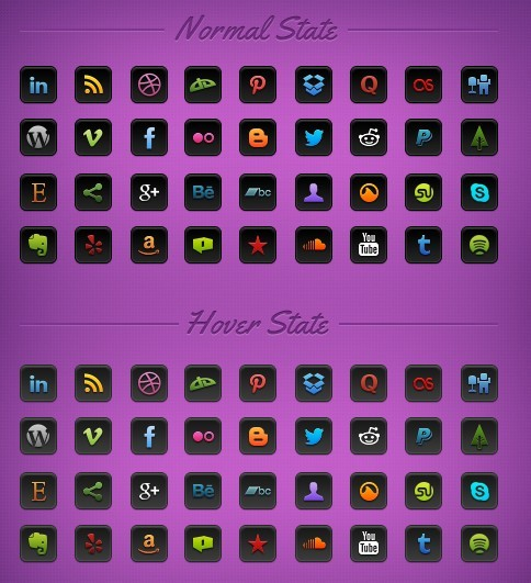 Vibrant Social Icon Set (PNG and PSD)