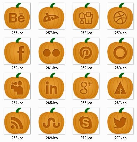 Pumpkin Style Social Media Icon Set