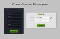 Elegant Register and Login Form Design PSD