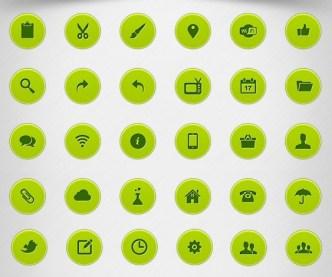 Green Circular Web Icons PSD