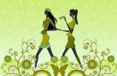 Fashion Pattern Girl Vector Illustration 37