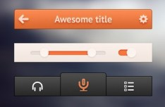 Small and Orange App UI Kit PSD