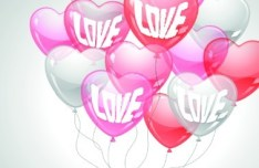 Pink, Yellow, and RedTransparent Heart-Shaped Balloons Vector