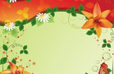 Vintage Spring Florals Background Vector 05