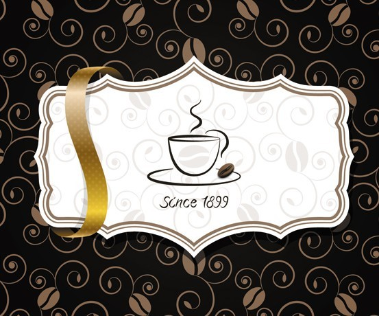 Elegant Coffee Label with Ribbon Vector