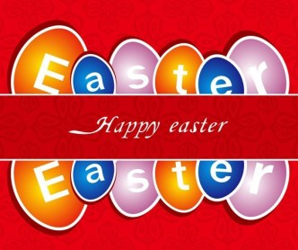 Happy Easter Card with Vintage Pattern Background Vector 02