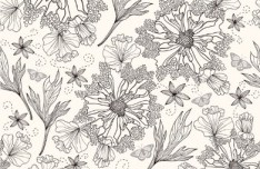 Sketch Hand Drawn Florals Background Vector 01