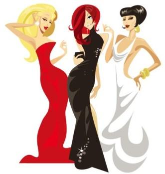 Three Fashion Ladies Vector Illustrator