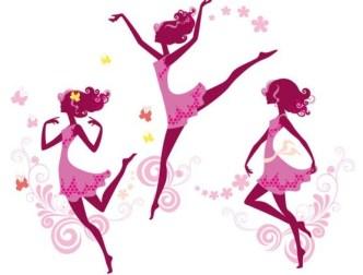 Vector Silhouette of Pink Dancing Girl