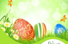 Green Happy Easter Background Vector 01