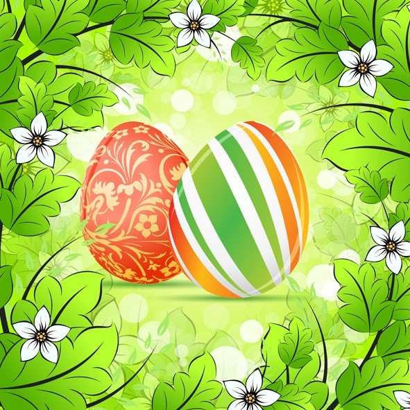 Green Happy Easter Background Vector 02