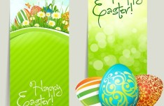 Green Happy Easter Banners Vector 01