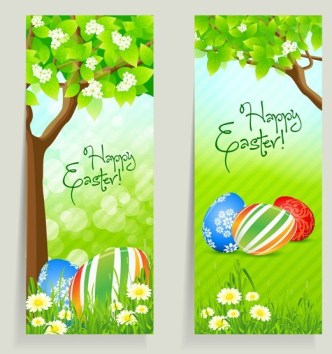 Green Happy Easter Banners Vector 02