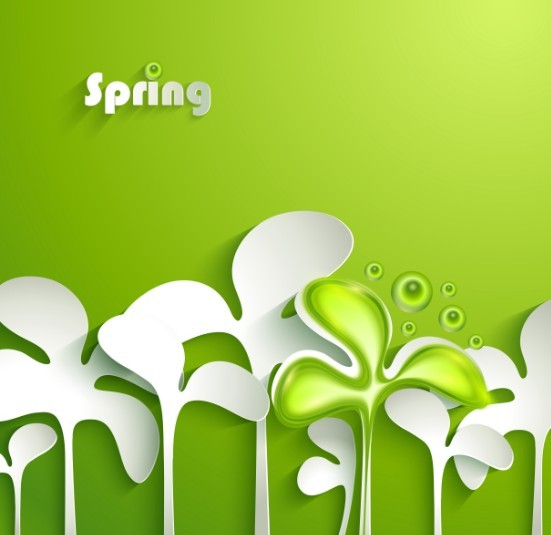 Small Green Sapling Of Spring Concept Background Vector 01