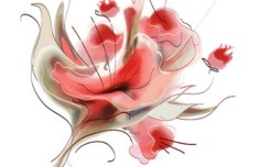 Vector Flowers In Traditional Chinese Ink Painting 01