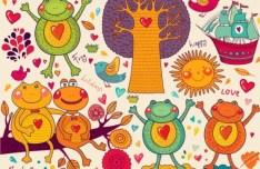 Vector Happy Holiday Cartoon Animals For Kids 02